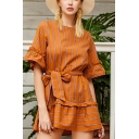 Trendy Womens Stripe Printed Ruffled Short Sleeve Round Neck Bow Tied Waist Mini Pleated A-line Dress in Coffee