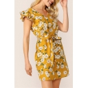 Gorgeous Womens Allover Daisy Floral Print Butterfly Sleeve V-neck Bow Tied Waist Short A-line Dress