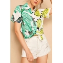 Womens Stylish Allover Leaf and Banana Print Short Sleeve Spread Collar Button up Tied Hem Regular Fit Shirt in Green