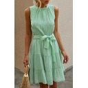 Pretty Womens Solid Color Sleeveless Crew Neck Bow Tied Waist Ruffled Trim Mini Pleated A-line Dress
