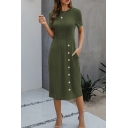 Leisure Womens Solid Color Short Sleeve Crew Neck Button down Midi Smock T Shirt Dress