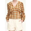 Fashion Womens Plaid Print Long Sleeve V-neck Button up Slim Fit T-shirt in Yellow