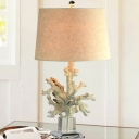 Coral Bedroom Nightstand Lamp Traditional Resin Single Light Beige Table Light with Drum Fabric Shade