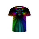 Fancy 3D Striped Pattern Round Neck Short Sleeve Fitted Tee Top for Men