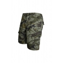 Mens Trendy Camo Pattern Zip Fly Button Knee Length Regular Fit Shorts with Pockets