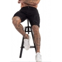 Mens Stylish Zip-fly Turn-up Cuffs Distressed Pocket over the Knee Slim Fit Denim Shorts in Black