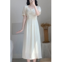 Popular Ladies Puff Sleeve Stringy Selvedge Sweetheart Neck Ruched Mid Pleated A-line Dress in Apricot