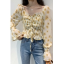 Lovely Allover Floral Print Stringy Selvedge Long Sleeve Sweetheart Neck Drawstring Pintuck Fitted Blouse Top in Yellow