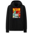 Chic Mens Doctor Virus Letter Ule Stand Together Printed Pocket Drawstring Long Sleeve Regular Fit Graphic Hooded Sweatshirt