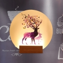 Moon-Shaped Acrylic Wall Lighting Nordic Wood LED Wall Mural Lamp with Deer Pattern