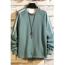 Fancy Tape Pullover Long Sleeve Round Neck Fitted Sweatshirt for Men