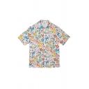Cute Girls Mix Cartoon Printed Button Down Collar Short Sleeve Regular Fit Tunic Shirt in White