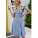 Pretty Womens Stripe Print Butterfly Sleeve V-neck Button down Bow Tied Waist Mid A-line Dress in Blue