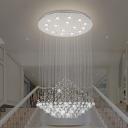Crystal Orbs Raindrop Pendulum Lighting with Diamond Design Modern LED Chrome Hanging Lamp