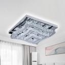 3-Tier Waved Square Crystal Block Ceiling Flush Modern LED Stainless-Steel Semi Flush Mount