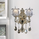 1/2-Head Wall Light with Floral Shade Ruffle Crystal Glass Traditional Bedroom Wall Lamp in Gold