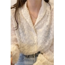 Exclusive Girls Fringe Semi-sheer Lace Long Sleeve Shawl Collar Pearl Button Relaxed Plain Blouse