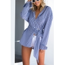 Popular Womens Stripe Pattern Long Sleeve Spread Collar Button up Bow Tied Waist Relaxed Shirt in Blue