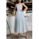 Gorgeous Ladies Sequined Strapless Mid Pleated A-line Tube Dress in Light Blue