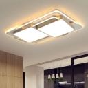 Combined Rectangle Iron Ceiling Flush Modern Black/White LED Flush Mounted Light in Warm/White Light