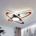 Starry Sky Kids Room Flush Lighting Acrylic LED Nordic Flush Mounted Ceiling Lamp in Grey