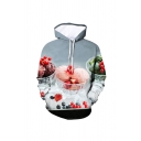 Unique Men's Ice Cream Strawberry Grape 3D Print Drawstring Fitted Full Sleeve Hoodie with Pocket