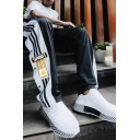 Creative Mens Sweatpants Striped Letter Sport Pattern Zipper Pocket Side Slits Regular Fit Full Length Sweatpants in Black