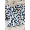 Vintage Ladies Floral Print Button Down Square Neck Short Puff Sleeve Relaxed Fit Cropped Blouse Top