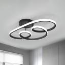 Acrylic Twisted Frame Semi Flush Lamp Fixture Nordic LED Flush Ceiling Light in Black