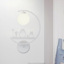 White/Black Animals Wall Light Fixture Nordic 1-Light Metal Wall Sconce Lamp with C-Arm