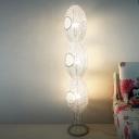 Aluminum Wire 3-Egg Shape Floor Lamp Classic Style 3 Lights Bedroom Floor Standing Light in White