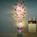 Art Deco Floret and Vase Floor Lighting Aluminum Wire LED Floor Standing Lamp in Purple