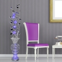 Black and Silver LED Stand Up Lamp Art Deco Aluminum Wire Lotus and Vase Floor Lamp