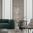 Art Deco Vase and Plant Standing Light Aluminum Wire LED Floor Lamp in Black and Silver, White/Warm Light
