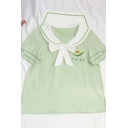 Popular Womens Japanese Letter Avocado Embroidery Striped Contrast Piping Bow Sailor Collar Short Sleeve Regular Fit Graphic Shirt