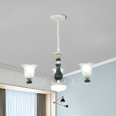 3/6-Light Ceiling Hang Fixture with Flower Shade Cream Glass Country Style Living Room Chandelier Lamp