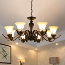 3/6/8 Heads Chandelier Light Fixture Vintage Bell Shade Tan Glass Up Hanging Ceiling Lamp in Black