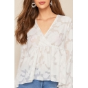 Stylish Chiffon Semi-sheer Allover Flower Embroidery Long Sleeve Surplice Neck Ruffled Relaxed Fit Blouse Top in White