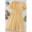 Elegant Ladies Solid Color Bow Pleated Patchwork Ruffle Trim Zip Back Crew Neck Short Puff Sleeve Midi A Line Dress in Yellow