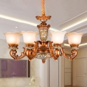 Tan Glass Brown Finish Hanging Light Kit Flower Shade 6/8 Bulbs Antiqued Up Chandelier Lamp