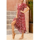 Pretty Girls Allover Flower Printed Short Sleeve Surplice Neck Bow Tied Waist Long Wrap Dress in Burgundy