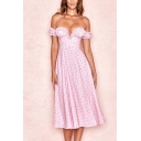 Pretty Ditsy Floral Printed Off the Shoulder Stringy Selvedge Slit Mid A-line Dress in Pink