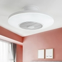 Simplicity Round Semi Mount Lighting Acrylic LED Bedroom Ceiling Fan Lamp in White, 19.5