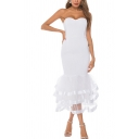 Popular Womens Strapless Mesh Tiered Mid Fishtail Tube Cocktail Dress in White