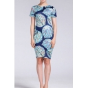 All over Leaf Printed Short Sleeve Crew Neck Trendy Mid Sheath Dress in Blue