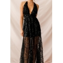 Banquet Ladies Tassel Sequins Embellished Sleeveless Deep V-neck Solid Color Sheer Maxi A-line Party Dress in Black