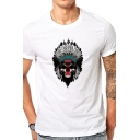 Chic Mens Tee Top Feather Skull Hat Printed Short Sleeve Round Neck Regular Fitted Tee Top