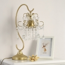 Gold Scroll Table Light Traditional Metal 1 Bulb Bedroom Night Lamp with Crystal Fringe