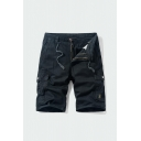 Trendy Shorts Plain Zip-fly Button Drawstring Pocket Knee Length Straight Fit Cargo Shorts for Men