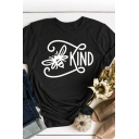 Fashion Letter Kind Butterfly Graphic Rolled Short Sleeve Crew Neck Regular Fit Tee Top